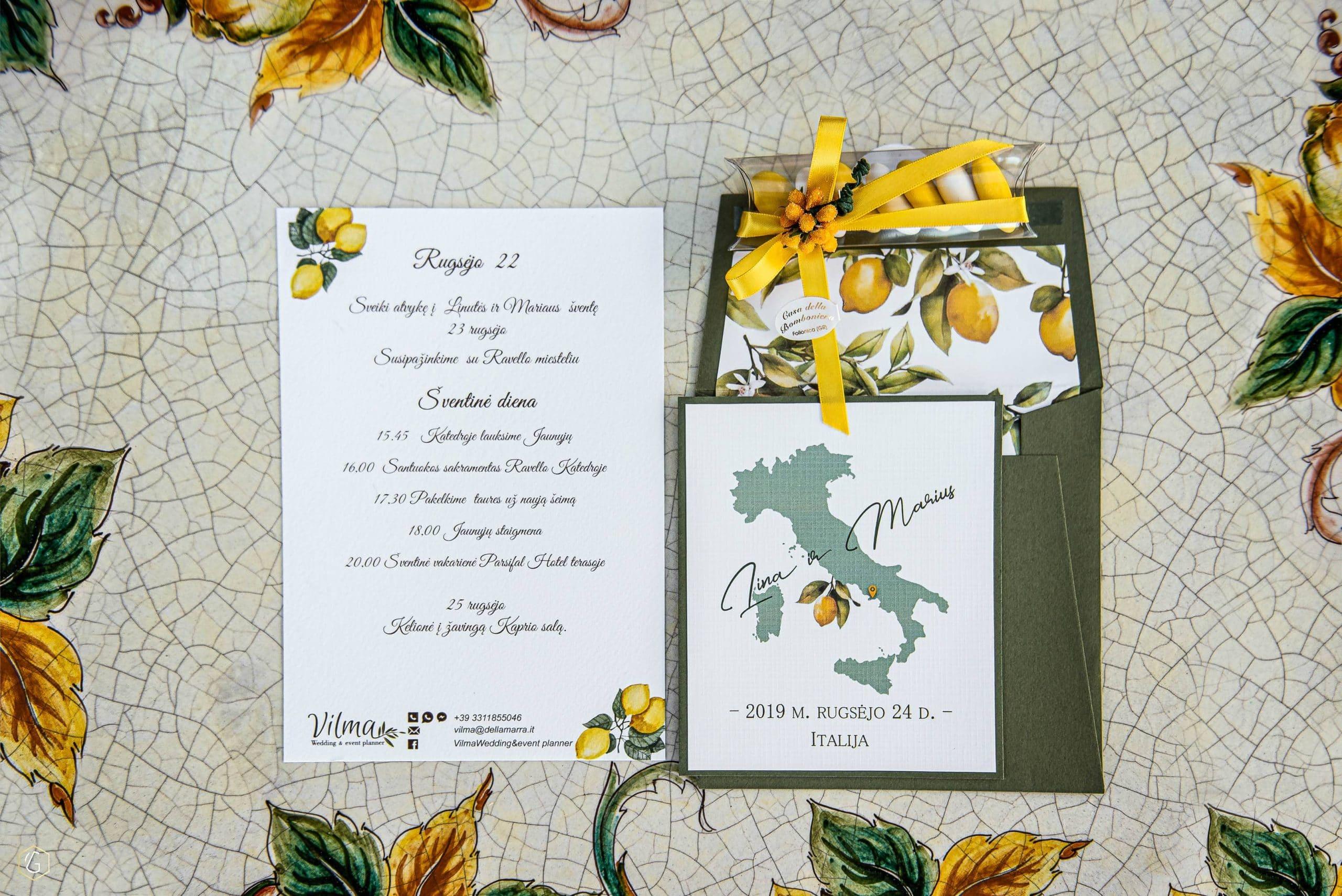 Vilma Wedding & Event Planner _ kvietimas į vestuves užsienyje _ citrinų dizainas _ vestuvės Amalfyje _ santuoka užsienyje_vestuvių organizatorė _ Vilma Rapšaitė